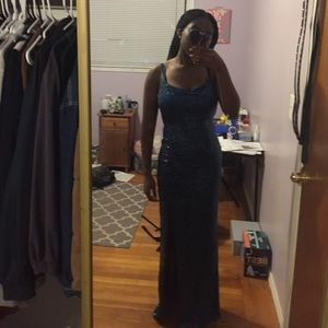 Blue Sequin Formal Dress